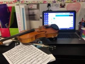 Remote music lessons via video conferencing and screen sharing